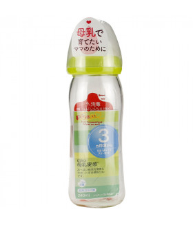 Pigeon Heat-Resistant Glass Baby Bottle Orange Yellow 240ml ,  3M+