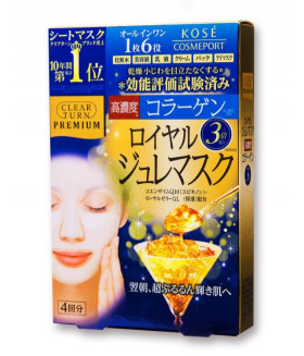 Kose Japan Clear Turn Premium Royal Jelly & Collagen Gel Mask (4 sheets) - 2016 NEW