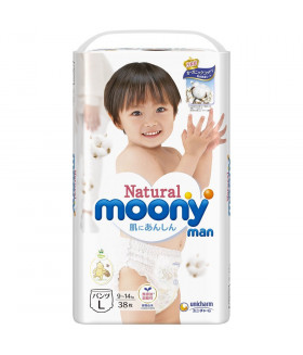 Moony pull-ups *Natural* Organic Cotton Large size Unisex (9-14 kg) (20-31 lbs) 38 count