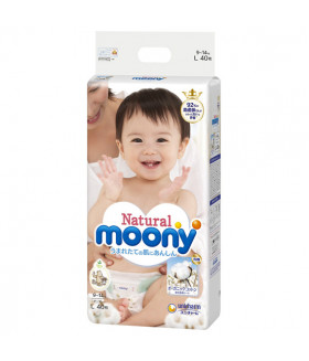 Moony diapers *Natural* Organic Cotton Large size (9-14 kg) (20-31lbs) 40 count