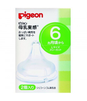 Pigeon Silicone Baby Bottle Nipples L Size, 2 pcs (6+)