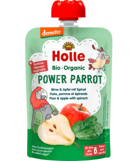 Holle Power Parrot Organic Pear & Apple with Spinach (6+ Months)